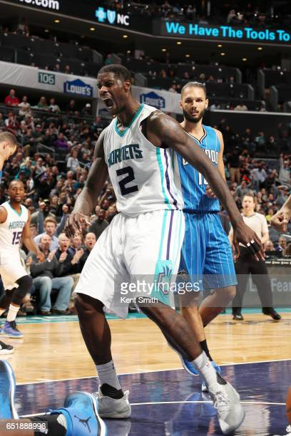 Marvin Williams of the Charlotte Hornets reacts during the game against the Orlando Magic on March 10 2017 at Time Warner Cable Arena in Charlotte...