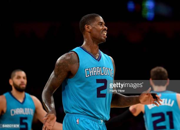 Marvin Williams of the Charlotte Hornets reacts to his three pointer during a 109104 win over the Los Angeles Lakers at Staples Center on February 28...