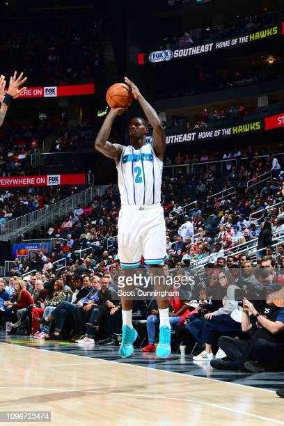 Marvin Williams of the Charlotte Hornets shoots the ball against the Atlanta Hawks on February 9 2019 at State Farm Arena in Atlanta Georgia NOTE TO...