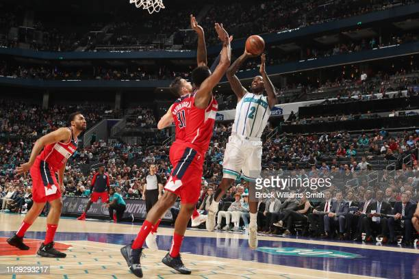 Marvin Williams of the Charlotte Hornets shoots the ball against the Washington Wizards on March 8 2019 at Spectrum Center in Charlotte North...