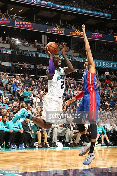 Marvin Williams of the Charlotte Hornets shoots the ball against the Detroit Pistons on March 11 2016 at Time Warner Cable Arena in Charlotte North...