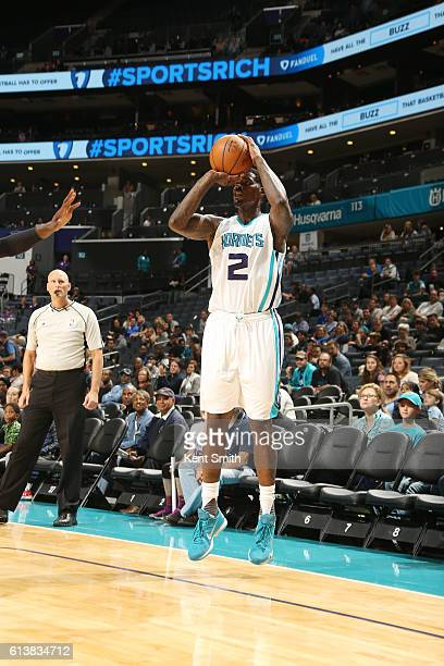 Marvin Williams of the Charlotte Hornets shoots the ball against the Minnesota Timberwolves during a preseason game on October 10 2016 at the...