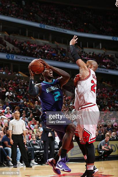 Marvin Williams of the Charlotte Hornets shoots the ball against the Chicago Bulls on October 17 2016 at the United Center in Chicago Illinois NOTE...