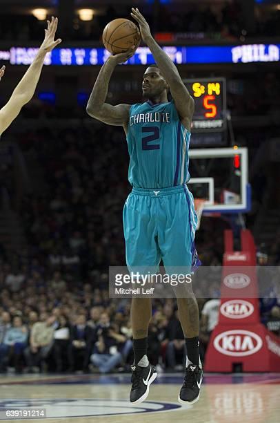 Marvin Williams of the Charlotte Hornets shoots the ball against the Philadelphia 76ers at the Wells Fargo Center on January 13 2017 in Philadelphia...