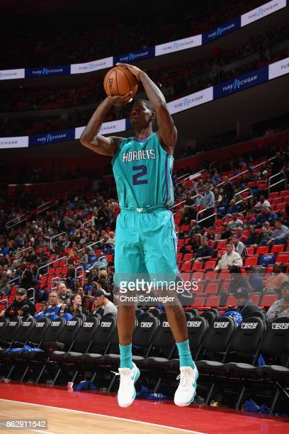 Marvin Williams of the Charlotte Hornets shoots the ball against the Detroit Pistons on October 18 2017 at Little Caesars Arena in Detroit Michigan...