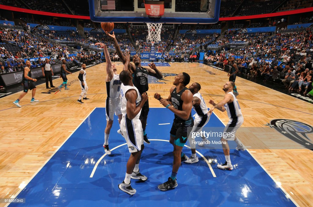 Marvin Williams #2 of the Charlotte Hornets shoots the ball against the Orlando Magic on February 14, 2018 at Amway Center in Orlando, Florida.