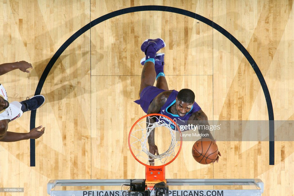 Marvin Williams #2 of the Charlotte Hornets shoots the ball against the New Orleans Pelicans on March 13, 2018 at Smoothie King Center in New Orleans, Louisiana.