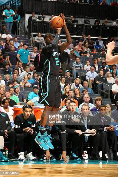 Marvin Williams of the Charlotte Hornets shoots the ball during the game against the Houston Rockets on March 12 2016 at Time Warner Cable Arena in...