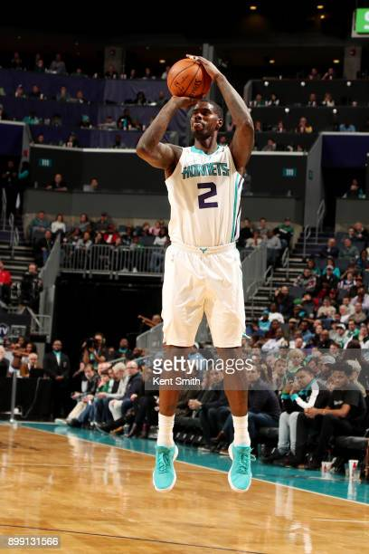 Marvin Williams of the Charlotte Hornets shoots the ball during the game against the Boston Celtics on December 27 2017 at Spectrum Center in...