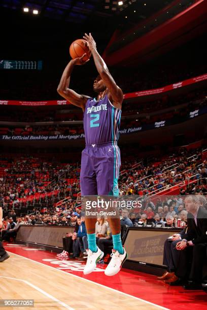 Marvin Williams of the Charlotte Hornets shoots the ball during the game against the Detroit Pistons on January 15 2018 at Little Caesars Arena in...