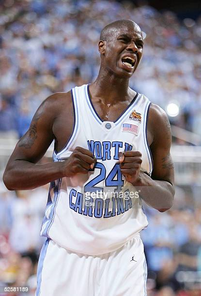Marvin Williams of the North Carolina Tar Heels reacts after a play against the Michigan State Spartans in the second half during the NCAA Men's...