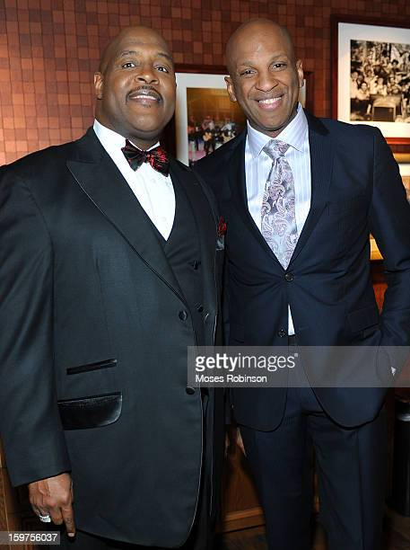 Marvin Winans and Donnie McClurkin attend the 28th Annual Stellar Awards Backstage at Grand Ole Opry House on January 19 2013 in Nashville Tennessee