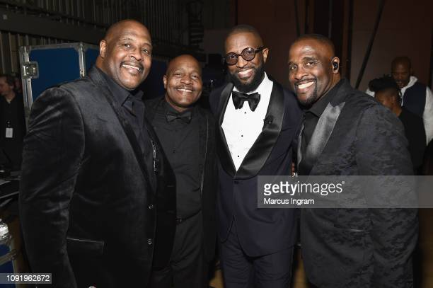 Marvin Winans Michael Winans Rickey Smiley and Carvin Winans pose backstage at the 2019 Super Bowl Gospel Celebration at Atlanta Symphony Hall on...