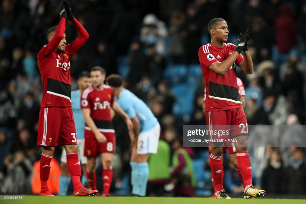 Marvin Zeegelaar of Watford applauds the fans at full time during the Premier League match between Manchester City and Watford at Etihad Stadium on January 2, 2018 in Manchester, England.