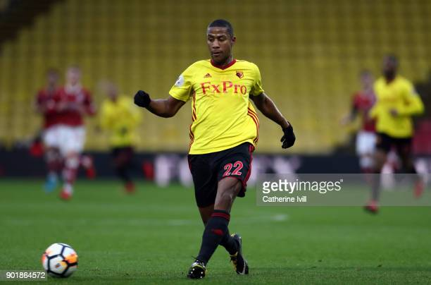 Marvin Zeegelaar of Watford during the Emirates FA Cup Third Round match between Watford and Bristol City at Vicarage Road on January 6 2018 in...