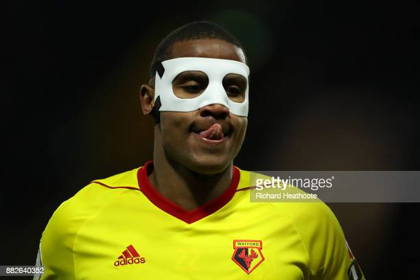 Marvin Zeegelaar of Watford during the Premier League match between Watford and Manchester United at Vicarage Road on November 28 2017 in Watford...