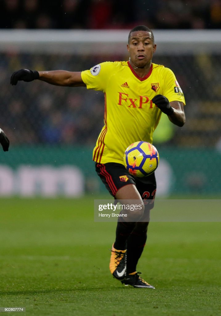 Marvin Zeegelaar of Watford during the Premier League match between Watford and Leicester City at Vicarage Road on December 26, 2017 in Watford, England.