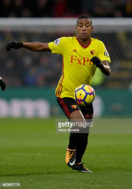 Marvin Zeegelaar of Watford during the Premier League match between Watford and Leicester City at Vicarage Road on December 26 2017 in Watford England