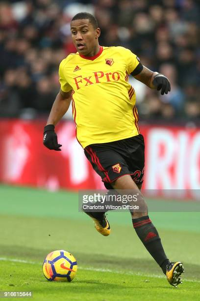 Marvin Zeegelaar of Watford during the Premier League match between West Ham United and Watford at London Stadium on February 10 2018 in London...