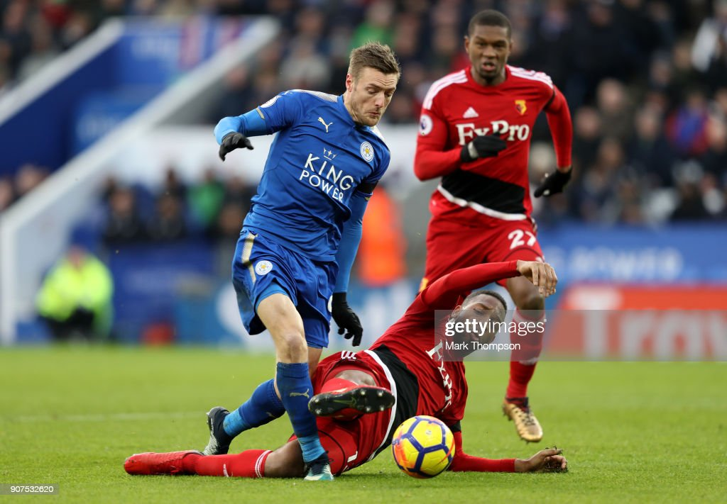 Marvin Zeegelaar of Watford fouls Jamie Vardy of Leicester City and a penalty is awarded to Leicester City during the Premier League match between Leicester City and Watford at The King Power Stadium on January 20, 2018 in Leicester, England.