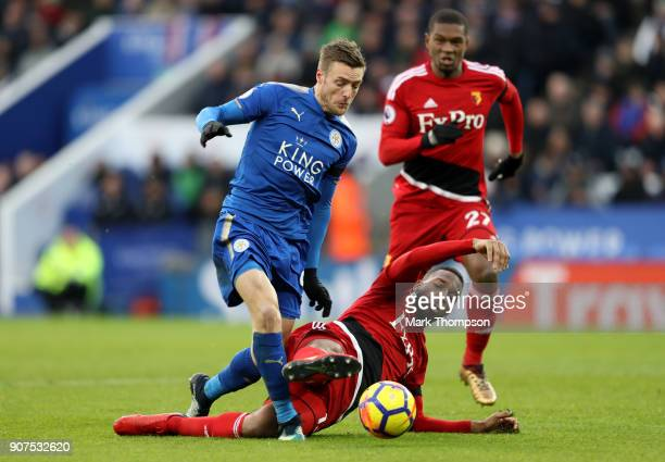 Marvin Zeegelaar of Watford fouls Jamie Vardy of Leicester City and a penalty is awarded to Leicester City during the Premier League match between...