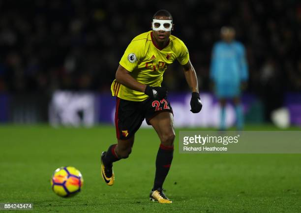 Marvin Zeegelaar of Watford in action during the Premier League match between Watford and Manchester United at Vicarage Road on November 28 2017 in...