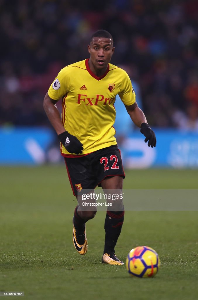 Marvin Zeegelaar of Watford in action during the Premier League match between Watford and Southampton at Vicarage Road on January 13, 2018 in Watford, England.