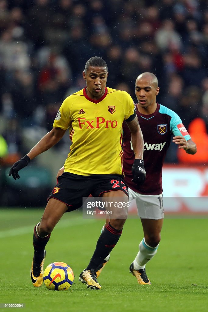 Marvin Zeegelaar of Watford in action during the Premier League match between West Ham United and Watford at London Stadium on February 10, 2018 in London, England.