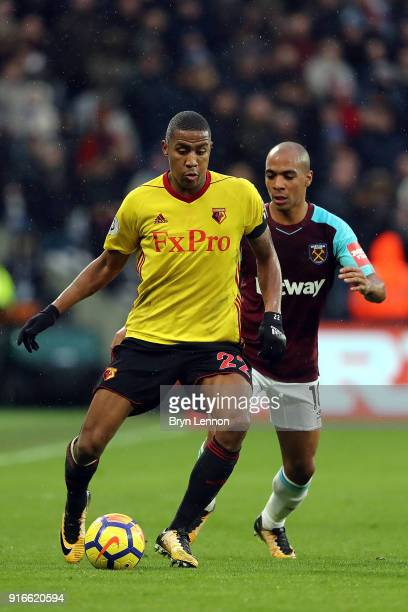 Marvin Zeegelaar of Watford in action during the Premier League match between West Ham United and Watford at London Stadium on February 10 2018 in...