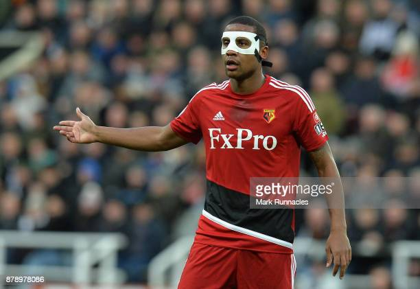 Marvin Zeegelaar of Watford looks on during the Premier League match between Newcastle United and Watford at St James Park on November 25 2017 in...