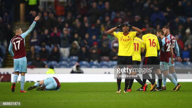 Marvin Zeegelaar of Watford reacts to being sent off during the Premier League match between Burnley and Watford at Turf Moor on December 9 2017 in...