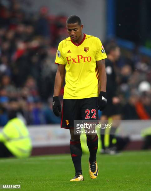 Marvin Zeegelaar of Watford walks off after being sent off during the Premier League match between Burnley and Watford at Turf Moor on December 9...
