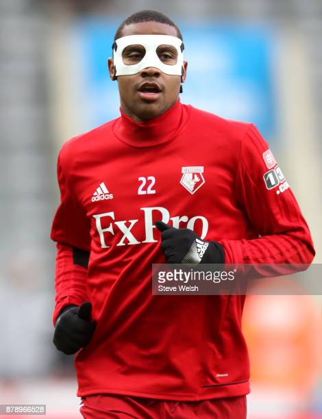 Marvin Zeegelaar of Watford warms up prior to the Premier League match between Newcastle United and Watford at St James Park on November 25 2017 in...