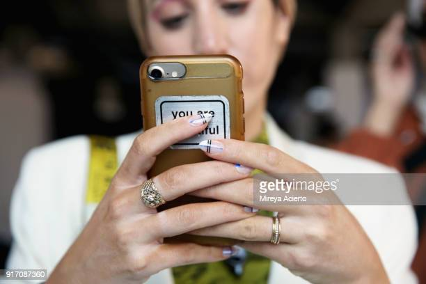 Marwa Atik nail detail attends backstage for Tibi during New York Fashion Week The Shows at Pier 17 on February 11 2018 in New York City
