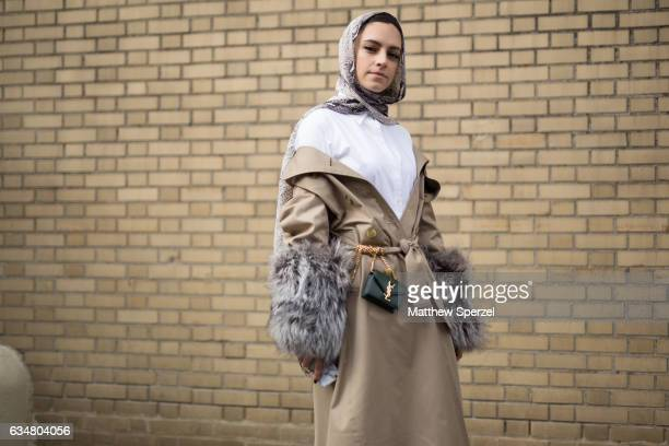 Marwa Biltagi is seen attending Taoray Wang/Creatures of the Wind during New York Fashion Week wearing Gucci Burberry Ralph Lauren and YSL on...