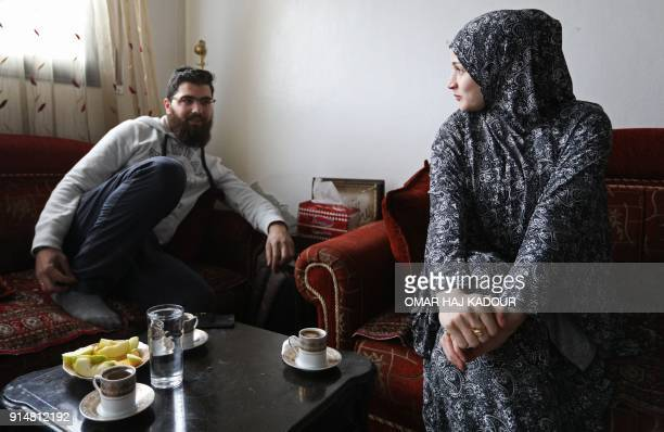 Marwa Taleb and Saleh Abu Qusay who since fleeing from their hometown Aleppo just over a year ago have moved five times because of shelling drink...