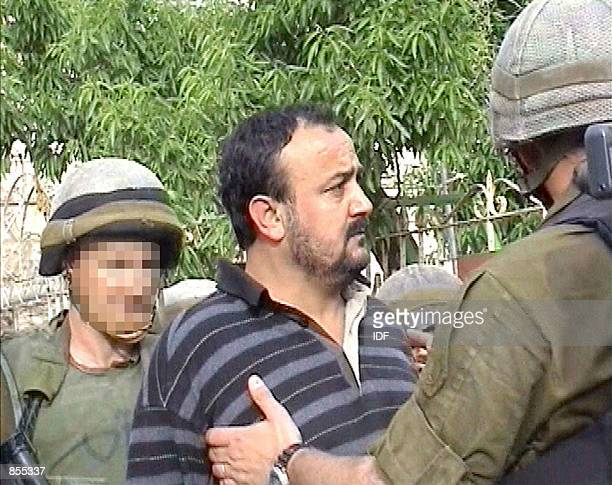 Marwan Barghouti head of the Tanzim faction of Yasser Arafat's Fatah movement is arrested by Israeli troops in the West Bank town of Ramallah April...