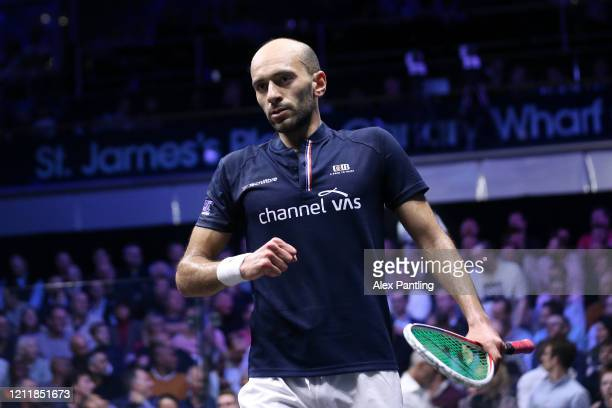 Marwan El Shorbagy of Egypt celebrates victory after the Quarter Final match of The Canary Wharf Squash Classic between Marwan El Shorbagy and Greg...