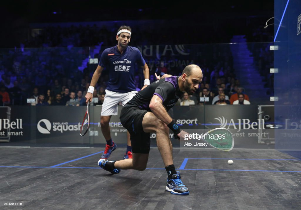 Marwan ElShorbagy of Egypt plays a backhand shot against Mohamed ElShorbagy of Egypt during the Men's Final of the AJ Bell PSA World Squash Championships at the Manchester Central Convention Complex on December 17, 2017 in Manchester, England.