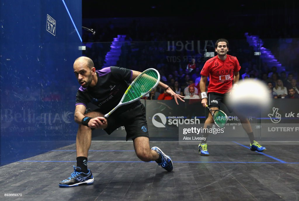 Marwan ElShorbagy of Egypt plays a forehand shot against Karim Abdel Gawad of Egypt in their Quarter Final match during the AJ Bell PSA World Squash Championships at the Manchester Central Convention Complex on December 15, 2017 in Manchester, England.