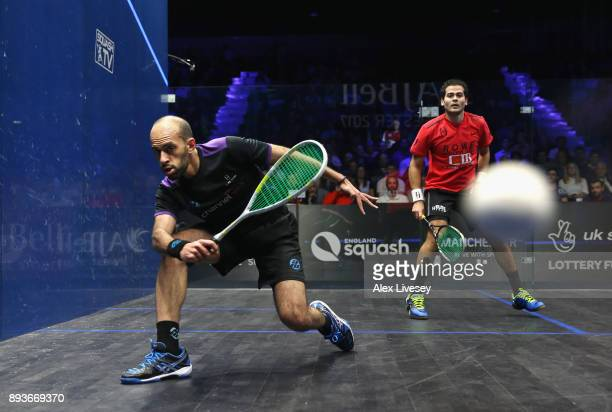 Marwan ElShorbagy of Egypt plays a forehand shot against Karim Abdel Gawad of Egypt in their Quarter Final match during the AJ Bell PSA World Squash...