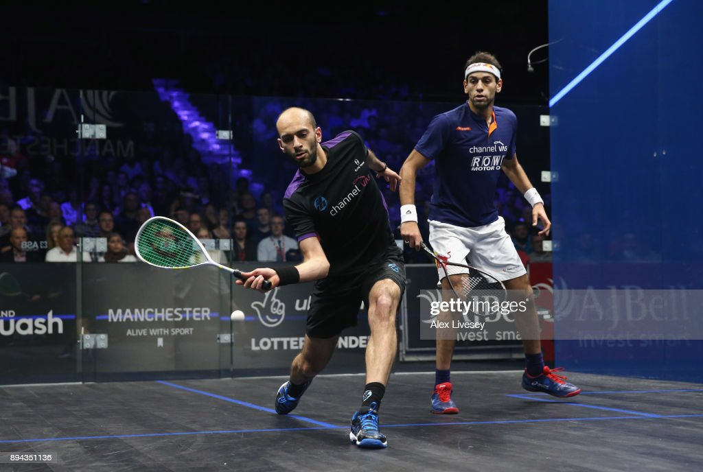 Marwan ElShorbagy of Egypt plays a forehand shot against Mohamed ElShorbagy of Egypt during the Men's Final of the AJ Bell PSA World Squash Championships at the Manchester Central Convention Complex on December 17, 2017 in Manchester, England.