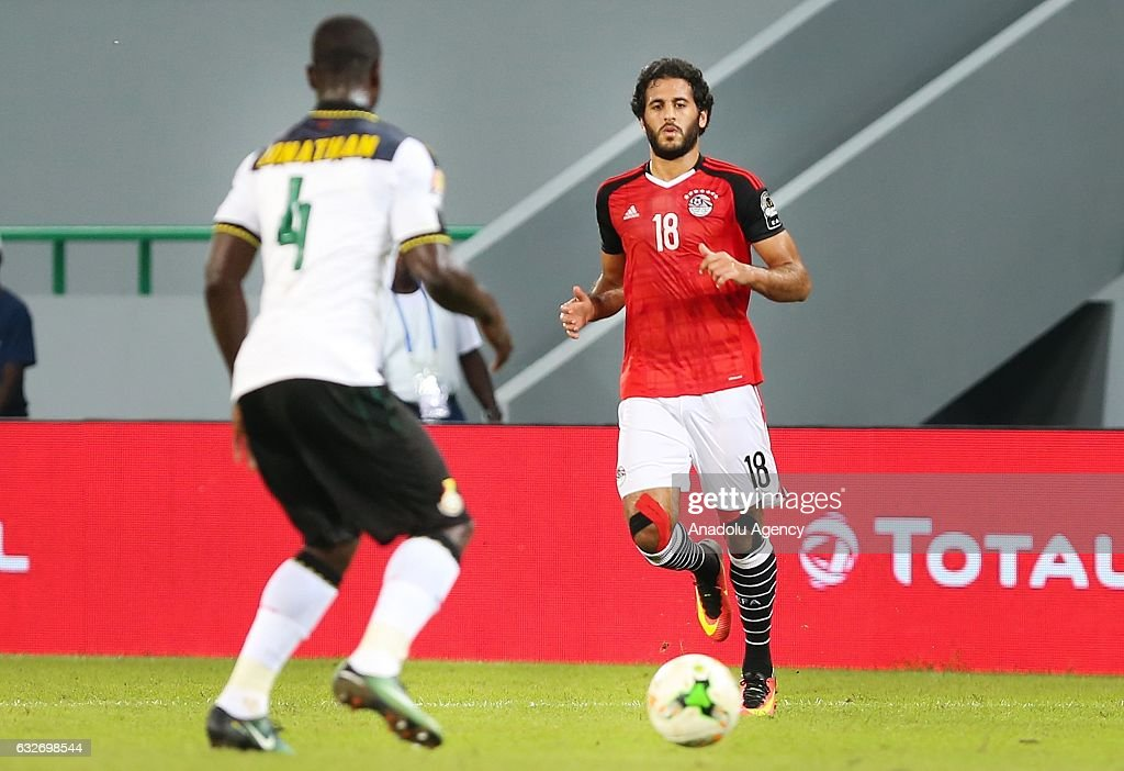 Marwan Mohsen (R) of Egypt in action against Jonathan Mensah (L) of Ghana during the African Cup of Nations 2017, Group D football match between Ghana and Egypt in Port-Gentil, Gabon on January 25, 2017.