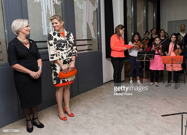 Marwil Straat and Queen Maxima of The Netherlands attend the kick off of a national campaign to collect instruments for musical education on May 12...