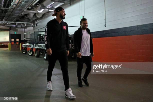 Marwin Gonzalez and Jose Altuve of the Houston Astros arrive at Minute Maid Park prior to Game 5 of the ALCS against the Boston Red Sox on Thursday...