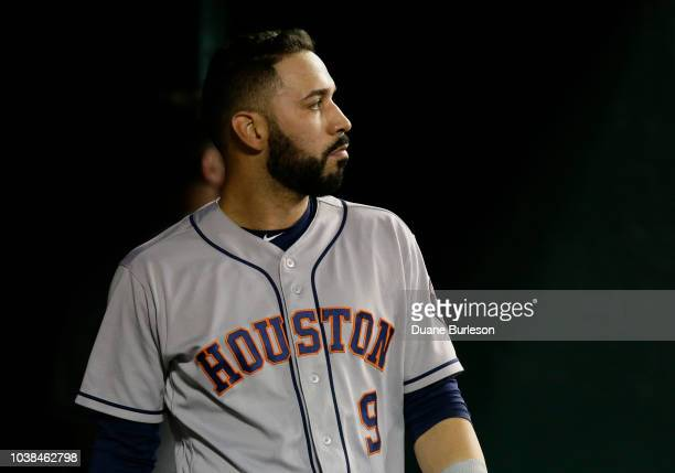 Marwin Gonzalez of the Houston Astros after striking out against the Detroit Tigers at Comerica Park on September 11 2018 in Detroit Michigan