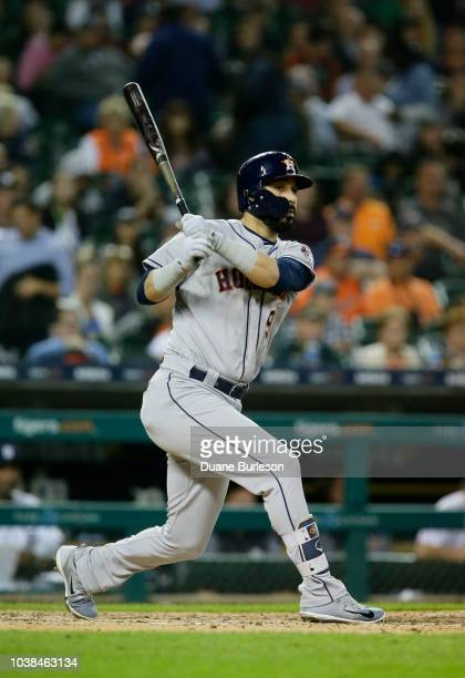 Marwin Gonzalez of the Houston Astros bats against the Detroit Tigers at Comerica Park on September 11 2018 in Detroit Michigan