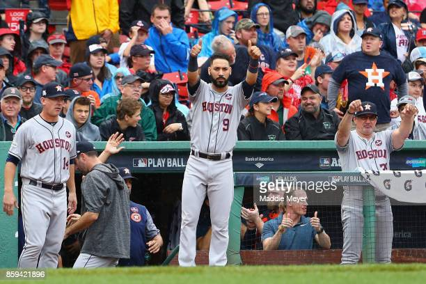 Marwin Gonzalez of the Houston Astros celebrates after an RBI single by George Springer in the second inning against the Boston Red Sox during game...