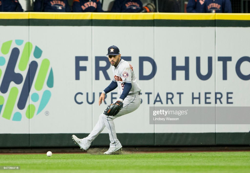 Marwin Gonzalez #9 of the Houston Astros fields the double by David Freitas #36 of the Seattle Mariners in the sixth inning at Safeco Field on April 16, 2018 in Seattle, Washington. The Seattle Mariners beat the Houston Astros 2-1.
