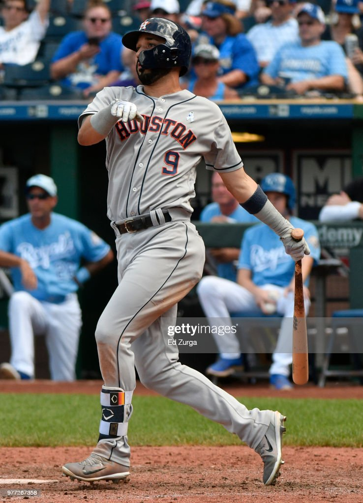 Marwin Gonzalez #9 of the Houston Astros hits an RBI single in the eighth inning against the Kansas City Royals at Kauffman Stadium on June 17, 2018 in Kansas City, Missouri.